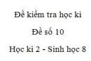 Đề số 10 - Đề kiểm tra học kì 2 - Sinh học 8