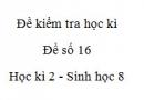 Đề số 16 - Đề kiểm tra học kì 2 - Sinh học 8