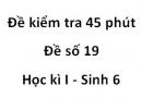 Đề kiểm tra 45 phút - Đề số 19 - Học kì I - Sinh 6