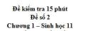 Đề kiểm tra 15 phút - Đề số 2 - Chương 1 - Sinh học 11