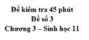 Đề kiểm tra 45 phút (1 tiết) - Đề số 3 - Chương 3 - Sinh học 11