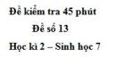 Đề kiểm tra 45 phút (1 tiết) - Đề số 13 - Học kì 2 - Sinh học 7