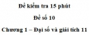 Đề kiểm tra 15 phút – Chương 1 – Đề số 10 – Đại số và giải tích 11