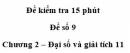 Đề kiểm tra 15 phút – Chương 2 – Đề số 9 – Đại số và giải tích 11