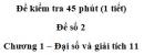Đề kiểm tra 45 phút (1 tiết) – Chương 1 – Đề số 2 – Đại số và giải tích 11
