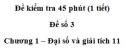 Đề kiểm tra 45 phút (1 tiết) – Chương 1 – Đề số 3 – Đại số và giải tích 11