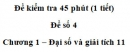 Đề kiểm tra 45 phút (1 tiết) – Chương 1 – Đề số 4 – Đại số và giải tích 11