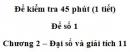 Đề kiểm tra 45 phút (1 tiết) – Chương 2 – Đề số 1 – Đại số và giải tích 11