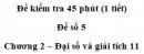 Đề kiểm tra 45 phút (1 tiết) – Chương 2 – Đề số 5 – Đại số và giải tích 11
