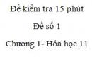 Đề kiểm tra 15 phút - Đề số 1 - Chương I -  Hóa học 11