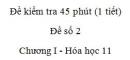 Đề kiểm tra 1 tiết (45 phút) - Đề số 2 – Chương I - Hóa học 11