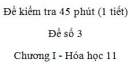 Đề kiểm tra 1 tiết (45 phút) - Đề số 3 – Chương I - Hóa học 11