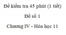 Đề kiểm tra 1 tiết (45 phút) - Đề số 1 - Chương IV - Hóa học 11