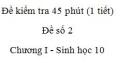 Đề kiểm tra 45 phút (1 tiết) - Đề số 2 - Chương I - Phần 2 -  Sinh học 10