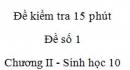 Đề kiểm tra 15 phút - Đề số 1 - Chương II - Phần 2 -  Sinh học 10