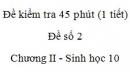 Đề kiểm tra 45 phút (1 tiết) - Đề số 2 - Chương II - Phần 3 - Sinh học 10