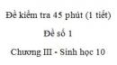 Đề kiểm tra 45 phút (1 tiết) - Đề số 1 - Chương III - Phần 3 -  Sinh học 10
