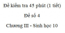 Đề kiểm tra 45 phút (1 tiết) - Đề số 4 - Chương III - Phần 3 - Sinh học 10