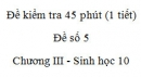 Đề kiểm tra 45 phút (1 tiết) - Đề số 5 - Chương III - Phần 2 -  Sinh học 10