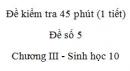 Đề kiểm tra 45 phút (1 tiết) - Đề số 5 - Chương III - Phần 3 - Sinh học 10