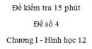 Đề kiểm tra 15 phút - Đề số 4 - Chương I - Hình học 12
