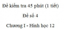 Đề kiểm tra 45 phút (1 tiết) - Đề số 4 - Chương I - Hình học 12