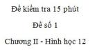 Đề kiểm tra 15 phút - Đề số 1 - Chương II - Hình học 12