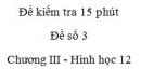 Đề kiểm tra 15 phút - Đề số 3 - Chương III - Hình học 12