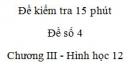 Đề kiểm tra 15 phút - Đề số 4 - Chương III - Hình học 12