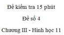 Đề kiểm tra 15 phút - Đề số 4 - Chương 3 - Hình học 11