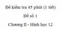 Đề kiểm tra 45 phút (1 tiết) - Đề số 1 - Chương II - Hình học 12