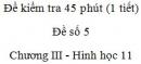 Đề kiểm tra 45 phút (1 tiết) - Đề số 5 - Chương 3 - Hình học 11