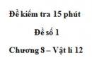 Đề kiểm tra 15 phút - Đề số 1 - Chương 8 - Vật lý 12