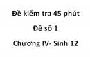 Đề kiểm tra 45 phút -  Đề số 1 - Chương IV - Sinh 12