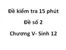 Đề kiểm tra 15 phút - Đề số 2 - Chương V - Sinh 12