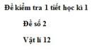 Đề số 9 - Đề kiểm tra học kì 1 - Vật lí 12