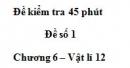 Đề kiểm tra 45 phút (1 tiết) – Đề số 1 - Chương 6 – Vật lí 12