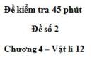Đề kiểm tra 45 phút (1 tiết) – Đề số 2 -  Chương 4 – Vật lí 12