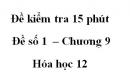 Đề kiểm tra 15 phút  – Đề số 1  – Chương 9 – Hóa học 12