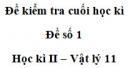 Đề số 7 - Đề kiểm tra học kì 2 - Vật lí 11