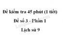 Đề kiểm tra 45 phút (1 tiết) - Đề số 3 - Phần 1 - Lịch sử 9