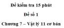 Đề kiểm tra 15 phút – Chương 7 – Đề số 1 – Vật lý 11
