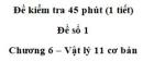 Đề kiểm tra 45 phút (1 tiết) – Chương 6 – Đề số 1 – Vật lý 11