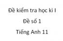 Đề số 1 - Đề kiểm tra học kì 1 - Tiếng Anh 11 mới