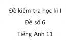 Đề số 6 - Đề kiểm tra học kì 1 - Tiếng Anh 11 mới