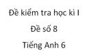 Đề số 8 - Đề kiểm tra học kì 1 - Tiếng Anh 6 mới