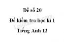 Đề số 20 - Đề kiểm tra học kì 1 - Tiếng Anh 12