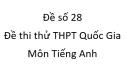 Đề số 28 - Đề thi thử THPT Quốc Gia môn Tiếng Anh