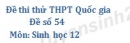 Đề số 54 - Đề thi thử THPT Quốc gia môn Sinh học
