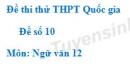 Đề số 10 - Đề thi thử THPT Quốc gia môn Ngữ văn